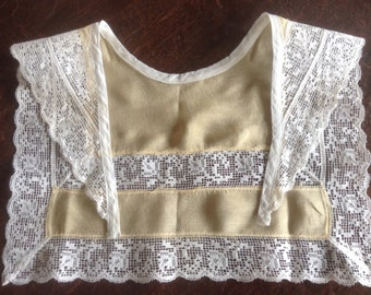 Vintage Antique Chiffon Silk and Lace Collar, Jabot, Pale Yellow and White