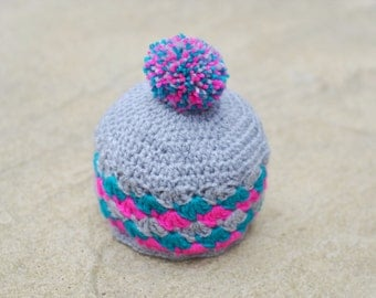 Baby Pompom Hat, Crochet Hat, Photo Prop, Beanie Hat, Baby Hat