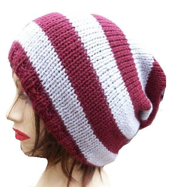 "Slouchy Beanie Hat, Tam Hat, Stripey, Burgundy Grey Gray 22"" - 24"""