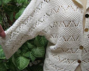 Vintage beige cotton blend lightweight cardigan sweater, beige dolman shorter summer sweater, ivory openweave feminine button sweater Sm Med