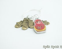 A Russian Doll with Mittens, Stitch markers, set of 5 markers