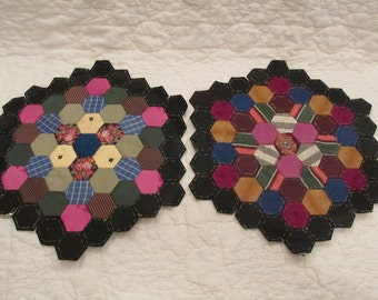 Antique Paper Pieced Quilt Block Hexagon 10 inches across set of 2 SALE