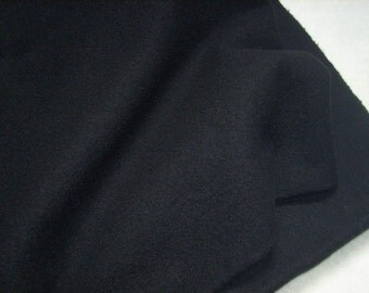 BLACK Wool Fabric, One Quarter Yard of Felted Wool Flannel, Great for Backgrounds