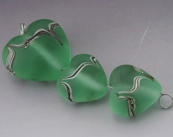 Pale Emerald Green Handmade Heart Lampwork Beads Etched Sea Glass Silvered Earring Pair plus Focal Heather Behrendt SRA