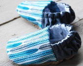 Blue Feathers Reversible Baby Shoes