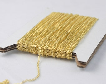 Gold Plated Chain Bulk Chain, 32 ft of Tiny Flat Soldered Necklace Wholesale Cable Chain - 2x1.4mm - Free Adequate Jumpring 50pcs