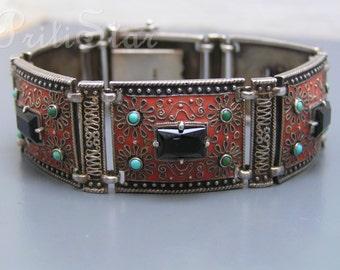 Silver Enamel Bracelet . Theodor Fahrner . Art deco Jewelry