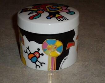 Otmar Alt abstract modernist Rosenthal vibrant jewelry box trinket canister lady bug flower