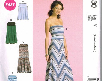 Strapless Dress Misses Skirt Maxi, Long Length Clingy Knit Sundress McCalls 7130 Womans Sewing Pattern Size XS S M 4 6 8 10 12 14