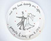 custom hand painted personalized ceramic wedding platter