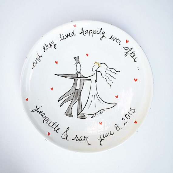 custom hand painted personalized ceramic wedding platter