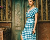 Not mass produced- Unique Balinese handprint Batik gingham maxi  country style dress small/medium/large