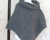 Poncho One Size Womens Dark Grey Heather Cape Style Cowl neck