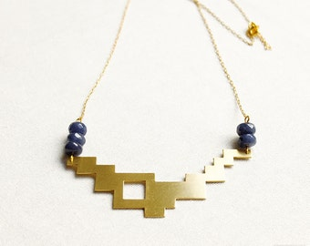 Geometric necklace with grey agate - pixel - geometric jewelry - geometric pendant - brass jewelry - modern jewelry