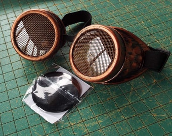 Steampunk welding Goggles, brass screen lens covers, eye protection glasses, copper color, lightning pirate, cosplay, mad science supply