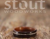Size 6.75 - Santos Rosewood With Offset Mother of Pearl Inlay Bentwood Ring - Handcrafted Wooden Ring