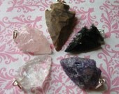 Shop Sale..  5 pcs, Arrow Head Arrowhead Pendant Charm, 25-50 mm, u pick .. obsidian crystal jasper rose quartz amethyst arrowhead, ap10.3