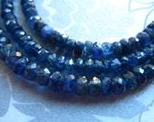 Sale..  5 10 25 pcs, SAPPHIRE Rondelles Beads, Medium Blue, Luxe AAA, 4-4.75 mm, not dyed heat treated september birthstone tr nd 45