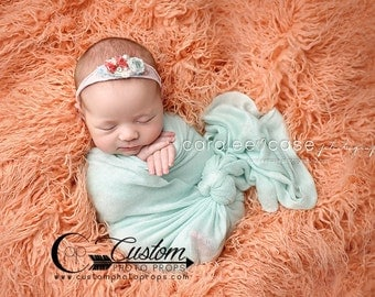 LaRgE Peaches Orange Long Sheep Faux Fur, Newborn Photography Props, Newborn Photo Props, Blanket - Baby Props, Floor, Flokati, Girl Props
