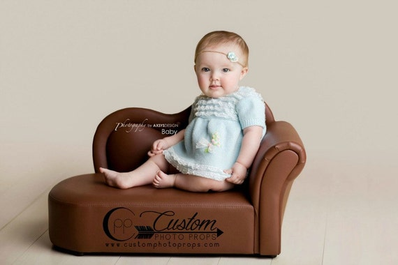 Toddler furniture brown upholstered chaise by customphotoprops for Baby chaise lounge
