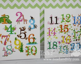 Girls and Boys 123 Numbers Stretched16x20 Canvas Art Prints on Stretched CANVAS for Kids Bedroom or Playroom