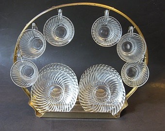 Unique Depression Glass Demitasse Set on Round Rack 6 Crystal Small Espresso Cups and Saucers