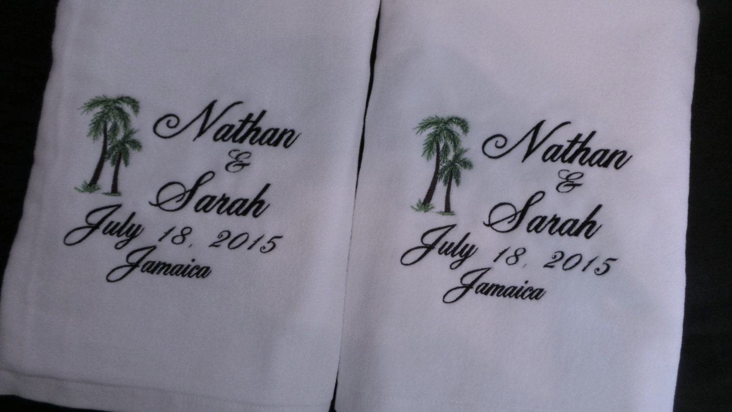 Wedding beach towels 2 personalized wedding towels honeymoon for Embroidered towels for wedding gift