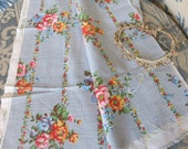 Vintage French Floral Fabric Textile Cloth / Country Cottage Flower Fabric / Cottage Chic 1940's / Handmade Sewing / Curtain Drape Cushion