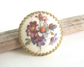 Vintage Floral Scarf Clip Purple Violet Blue Sugar Coating