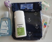 Small Ouch Pouch First Aid Baby Diaper Bag Car Stroller Office Desk Purse Tote Clear Front Organizer (4x5 Anchors Fabric)