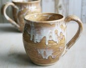 Pair of White Rustic Dripping Coffee Cups Handmade Stoneware Mugs in White and Ocher Glaze Ready to Ship Made in USA