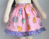 "Matching Doll Skirt to Match Girl Skirt Doll Clothes to Match Girl Clothes Pink Cat Skirt for 15 18 23"" doll Matching Girl and Doll Clothes"