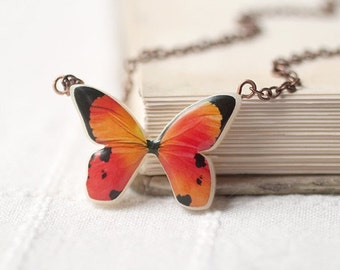 Peach Butterfly Wings necklace - Butterfly necklace (N046)