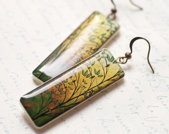 Yellow long earrings - Mustard earrings - Autumn trees earring - Autumn jewelry (E033)