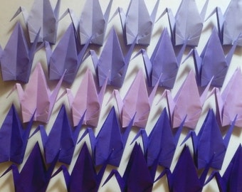 100 Large Origami Cranes Origami Paper Cranes - Made of 15cm 6 inches Japanese Paper - 5 Purple Colors