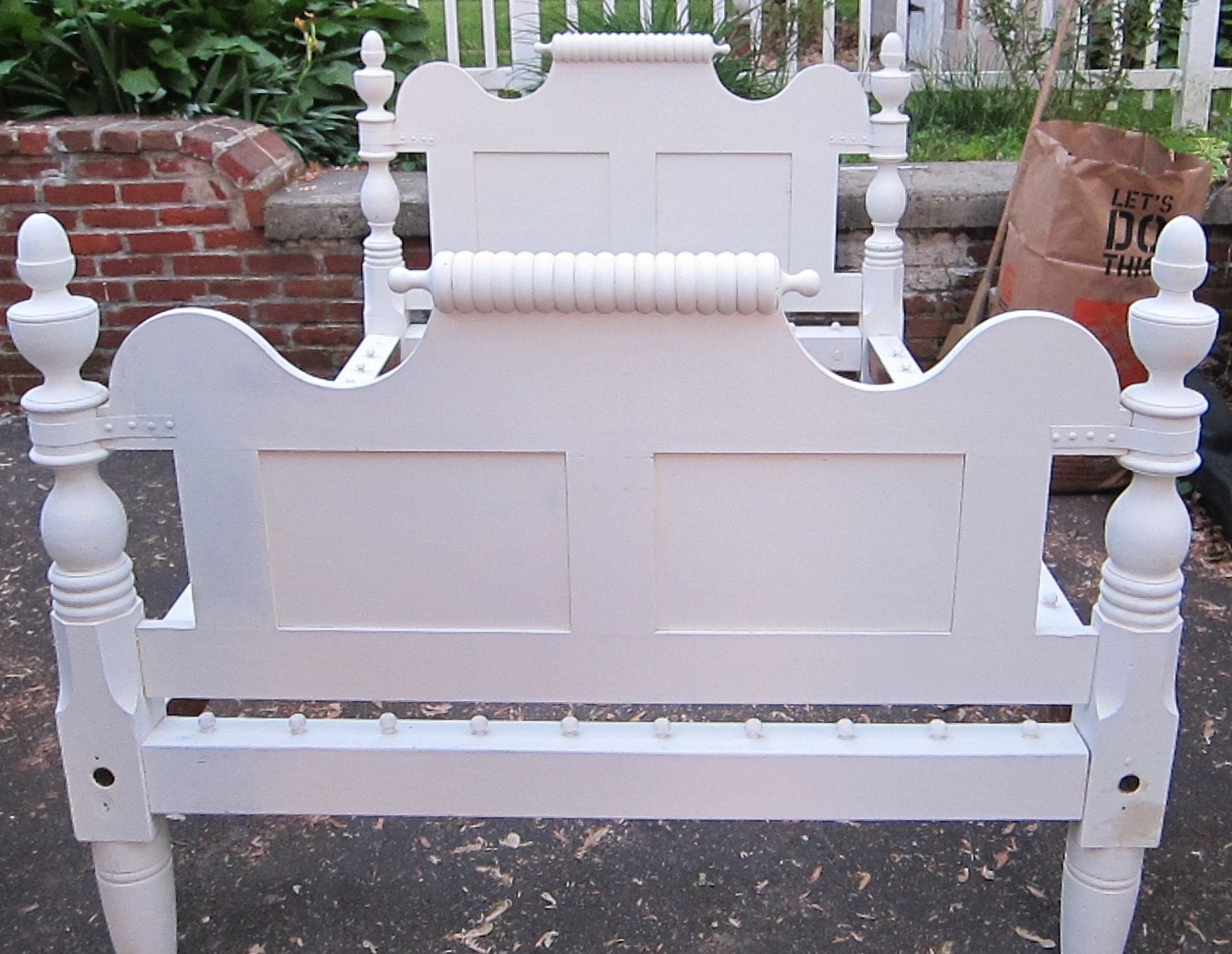 Chalk Paint Bed White Shabby Chic Rustic Furniture Vintage
