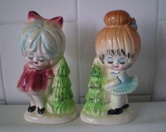 Vintage Girls Salt And Pepper Figurines Set Of 2