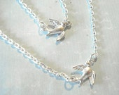 Silver Bird Necklace Set of Two Layering Necklace Soaring Bird Pendants  Bird Jewelry