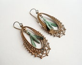 Verdigris, Rustic Patina, Copper Hoops, Dragonfly, Insect, Boho, Nature, Victorian, Green, Gardener, Naturalist, Dragon Fly