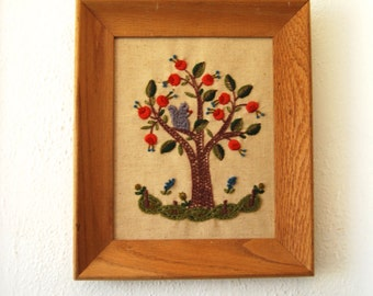 Vintage Squirrel and Tree Embroidery