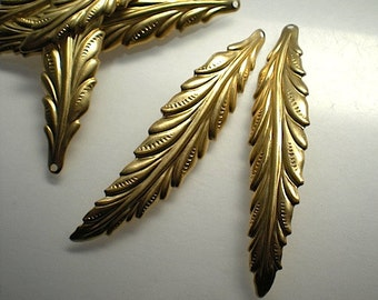 6 long brass leaf charms