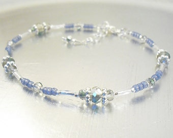 Beaded Ankle Bracelet - Montana Blue, Silver and Rainbow Crystal Glass Anklet