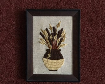 1974 Fiber Art Embroidered Framed Art
