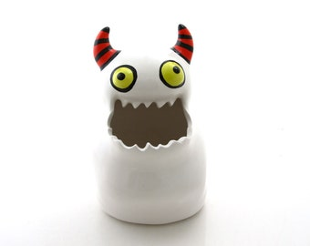 Monster pot, monster art and collectibles, ceramic monster, pencil cup, brush holder, planter