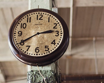 Old Clock Photograph, Vintage Clock Photography, Dark Industrial Urban Decay Photography, Abandoned Building Architecture, Moody  Brown