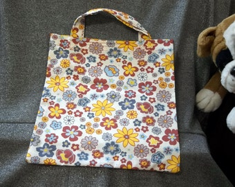 Book Lunch N Small Gift Tote Bag, Fall Flowers Print