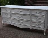 Vintage French Provincial Antiqued style 9 Drawer Long Dresser