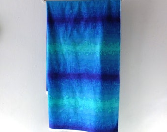 Vintage 1970s Mod Multicolor Dyed Cotton Pillow Fabric - Blue Turquoise Teal Green - Fifth Avenue Designs Sylmer Screen Print - 1-3/4 yds