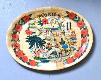 Souvenir Tray, Florida, Bamboo, Large Oval
