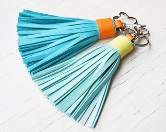 Leather Tassel Keychain Tassel Purse Charm, Tassel Key Fob READY TO SHIP
